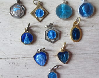 French Antiques - Lot -Antique French Blue Enamel Lourdes Medals or Charms - Lot of 10- Very Small