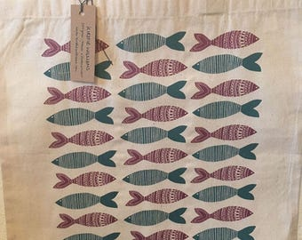 Fishes Design Screen Printed Cotton Tote Bag