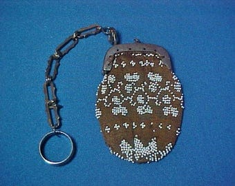 Antique Finger Purse, Beaded Knitted Bag, Steel Frame and Steel Ring