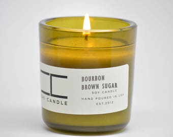 Bourbon - Brown Sugar Soy Candle Vintage Green Glass Scented Soy Candle