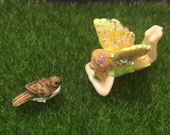 Brown Bird Fairy Garden Miniature Accessory