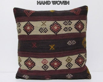 24x24 kilim pillow 24x24 black decorative pillow euro sham striped throw pillow cream pillow cover boho pillow case boho pillo cover A1052