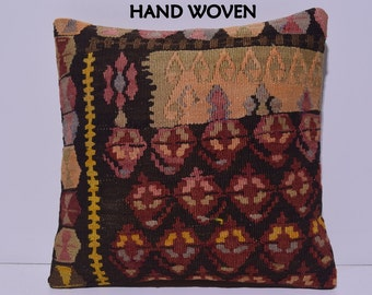 18x18 domesticate decorative pillow promptly throw pillow comfortable kilim pillow novelty pillow cover unbeatable pillow case red rug C1562