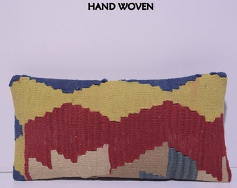 kilim pillow 10x20 turkish pillow cover kilim pillow turkish kilim pillow kilim rug kilim pillow case floor pillow yellow turkish rug G1179