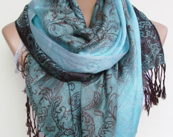 Turquoise  Brown Pashmina Scarf Oversize Scarf Fall Winter Scarf Large Scarf Women Fashion Accessories Holiday Christmas Gift Ideas For Her
