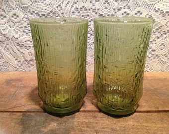 Vintage Anchor Hocking Soreno-Avocado Glasses