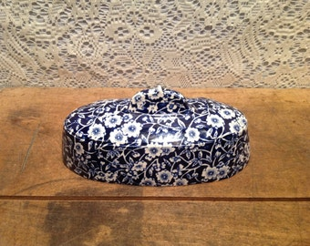 Staffordshire Blue Calico English Butter DIsh Lid Only