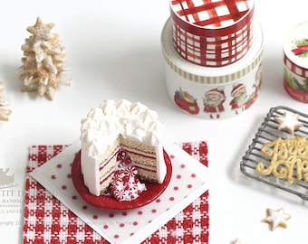 Winter Christmas Pinata Layered Cake with Hidden Surprise Peppermint Candies in 1/12th miniature dollhouse Christmas Cake