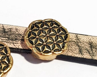 10mm Flower of Life Slider, Antique gold plated zamak and pewter- Side to Side Hole - Flat leather bracelet diy jewelry supplies