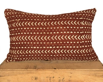 Rust Mudcloth Pillow Cover | Authentic Mud Cloth Pillow | 'Rusty'