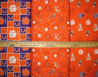 NCAA Clemson University Tigers Orange & Purple College Logo Cotton Fabric by Sykel! [Choose Your Cut Size]