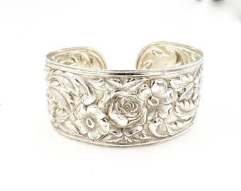 Vintage S Kirk & Son STERLING SILVER CUFF Bracelet Repousse Floral Sterling Silver Cuff Bracelet #19F