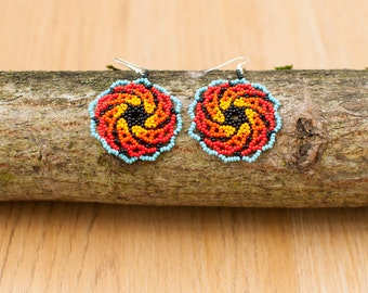 Galaxy circular beaded earrings