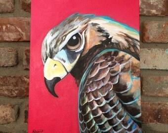 "Original 11"" x 14"" Cooper's Hawk acrylic painting on canvas"
