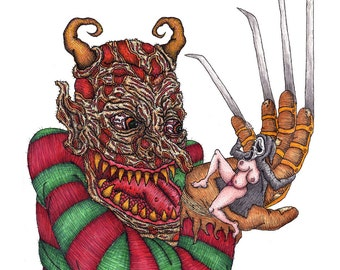 Freddy for Monsters Holding Bitches (pen and ink/ copic markers)