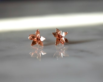 Baby Blossom Studs in Red Brass