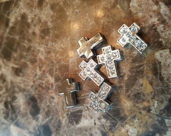 Bling Cross floating slider charms (set of 6) for DIY jobs like hair ties, headbands, bracelets and more