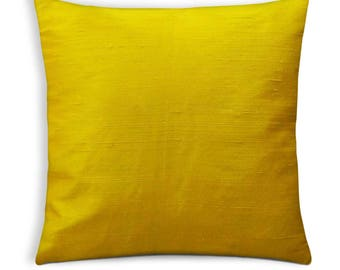Sunny Yellow Raw Silk Pillow Cover-Yellow Dupioni Silk Cushion Cover-Decorative Throw Pillow Cover
