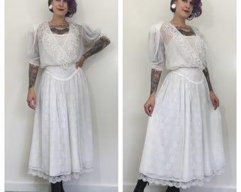Vintage 1980's Edwardian Style White Layered Dress