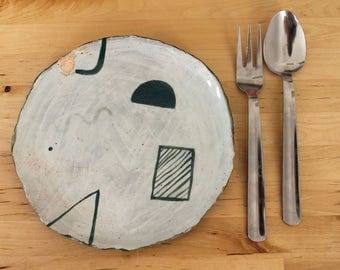 Handmade Ceramic Plate With Painted Design