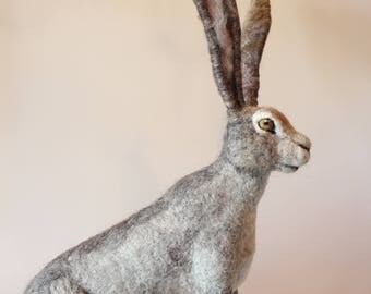 Needle felted Hare. Needle felted Animal. Needle felted soft sculpture. Forest animals. Ready to ship