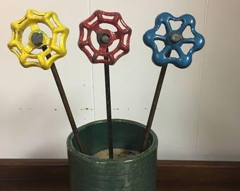 Rustic Faucet Handle Flower- Set of 3