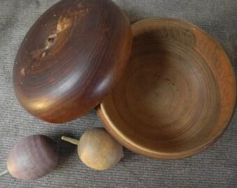 Antique Handmade Treenware Box with Miniature Nesting Treenware Nuts 1800's