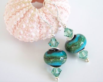 Green and Teal Artisan Lampwork and Crystal Earrings - Item E2198