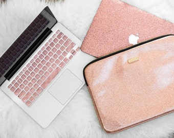 Rose Gold Glitter Macbook Case, Keyboard Cover, and Laptop Sleeve