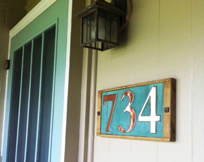 """Large Copper House numbers in oak frame 3 x nos. 6""""/150mm high nos.  serif Garamond font, shipped worldwide g"""