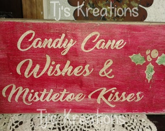 Distressed candy cane wishes and mistletoe wishes