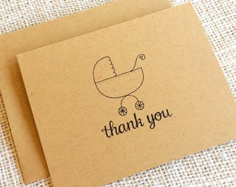 Set of 10 Baby Shower Thank You Notes - Simple Kraft Baby Thank You Cards with Baby Carriage Design - Baby Boy Girl or Gender Neutral