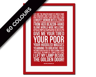 Give Me Your Tired Your Poor - New Collosus - Emma Lazarus - Statue of Liberty - Political Art - History Teacher Gift - Immigration Refugee
