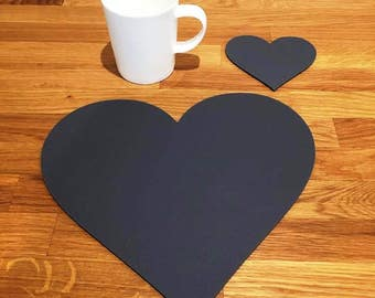 Heart Shaped Placemats or Placemats & Coasters - in Graphite Grey Matt Finish Acrylic 3mm