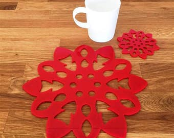 Snowflake Shaped Placemats or Placemats & Coasters - in Red Gloss Finish Acrylic 3mm