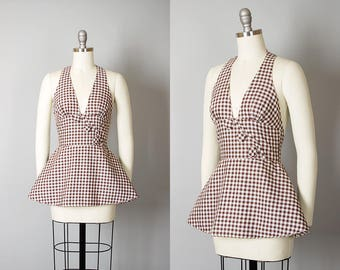 Vintage 1940s Top | 40s Gingham Cotton Halter Top Brown Pin Up Peplum Blouse (xs)