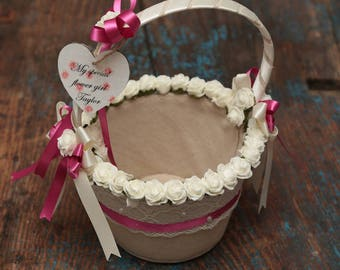 Hessian  vintage style flowergirl basket with personalised hearts
