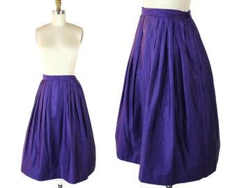 1950s Circle Skirt / Vintage Purple Sateen Midi Skirt / 50s Pleated Royal Purple Skirt