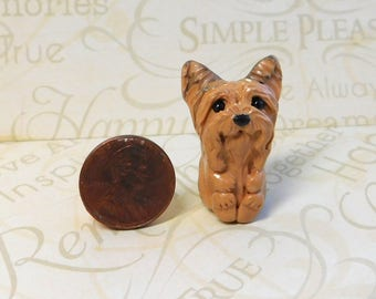 Totem Yorkshire Terrier, Mini Yorkie Sculpture, Yorkshire terrier gift, Yorkie pocket pal by Raquel at theWRC clay DOG