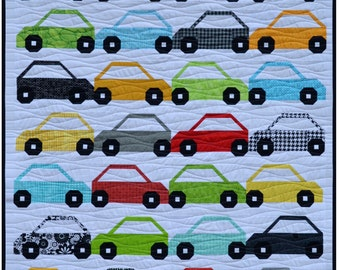 Bumper 2 Bumper car Quilt Pattern, PDF, Instant Download, baby, boy, modern patchwork, boy quilt, wheels, automobile