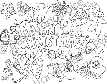 "Digital Download ""Christmas Cookies"" Coloring Page"
