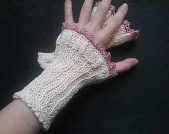 handknitted wristwarmer , cotton, offwhite