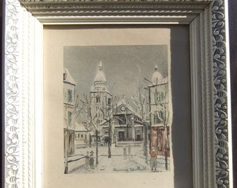 Maurice Utrillo Vintage Fine Art Print in Antique Frame of Sacre Coeur Church in Montmartre Paris
