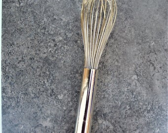 Goldtone Hand Whisk for Food Blog and Photography Props