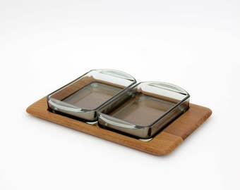 Vintage Snack Set // Digsmed Teak Wood Tray and Glass Bowls Made in Denmark // Condiment Tray with Glass Inserts