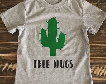 Cactus- free hugs onesie/ shirt for a baby girl or boy, unisex, personalized gift