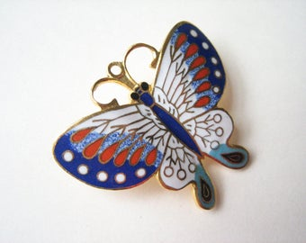 Vintage cloisonne butterfly brooch, butterfly pin, colourful butterfly, enamel butterfly, butterfly pendant brooch, insect brooch