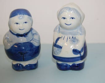 Vintage Delft Salt and Pepper Shakers, Dutch Boy and Girl, Blue and White Salt Shaker, Made in Holland, Kitchen Decor