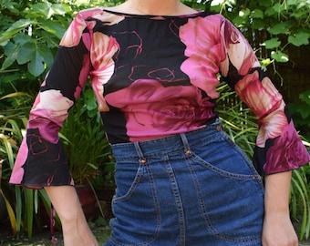 90's Rose Print Micromesh Top
