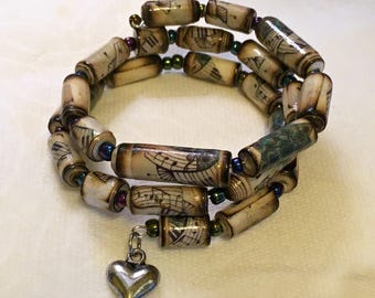 Memory Wire Paper Bead Bracelet- Music